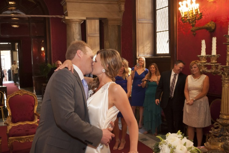 Bride & groom first Kiss in Rome's town hall