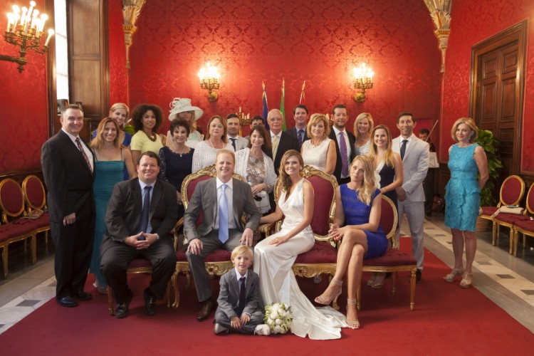 Wedding Group at the town hall of Rome