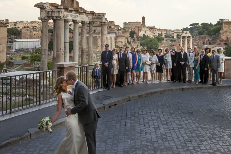 Bride & Groom Kiss at Historical site in Rome