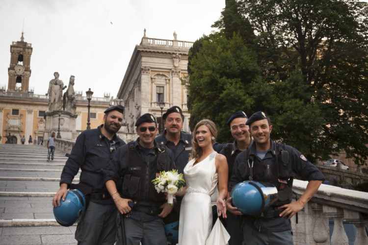 Italian Police protecting a bride in Rome