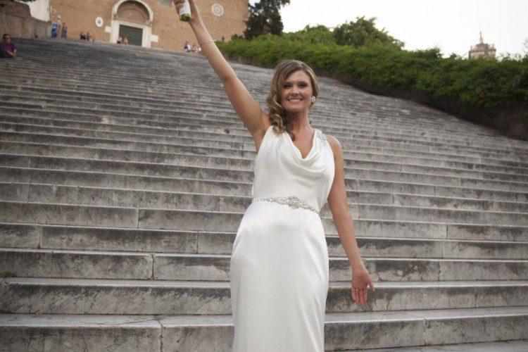Happy bride in Rome