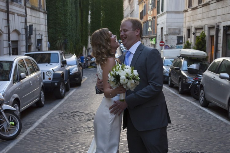 happy married couple in rome