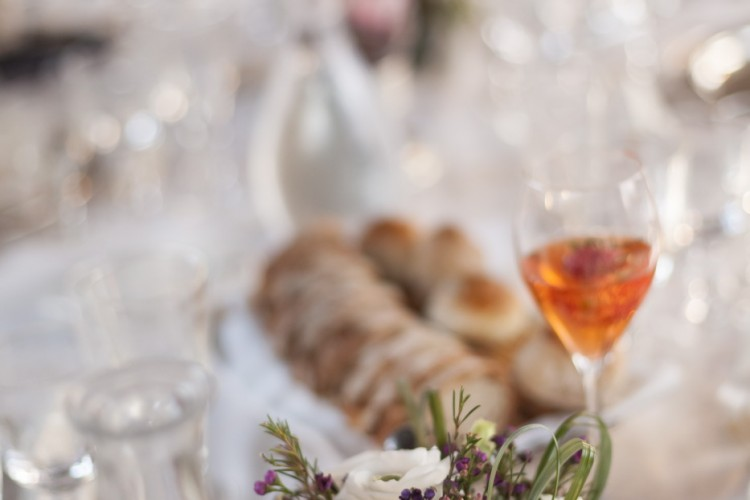 Wedding Dinner table set with flowers