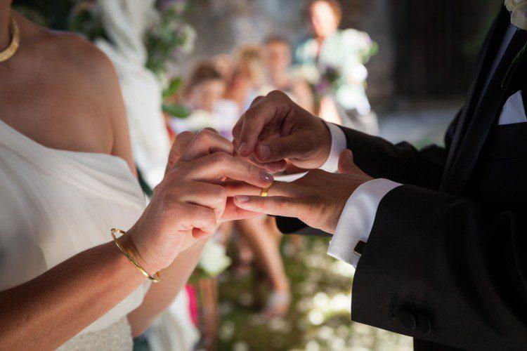 Exchange of the rings Romantic Garden Wedding in Rome Italy