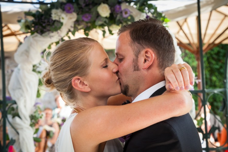 First Kiss Romantic Garden Wedding in Rome