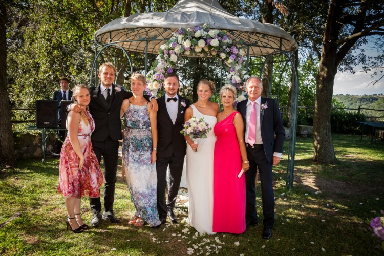 Family group photo at a Romantic Garden Wedding in Rome Italy