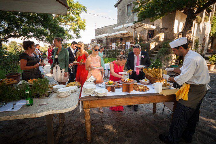 Aperitif time at Borgo di Tragliata wedding
