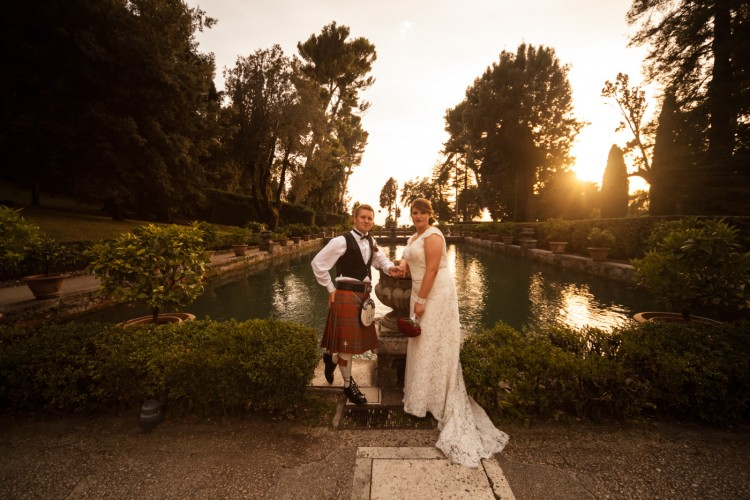 Villa d'Este in Tivoli at Sunset with married couple posing